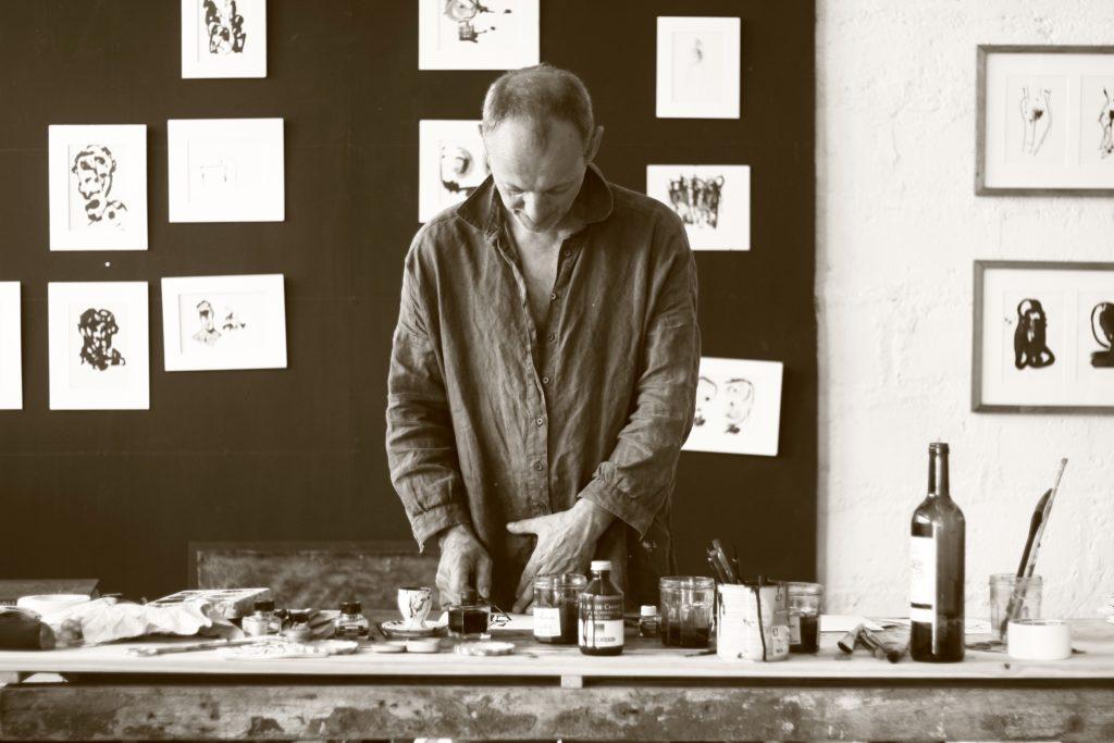 laurent merlet, atelier, dessin, peinture, encre